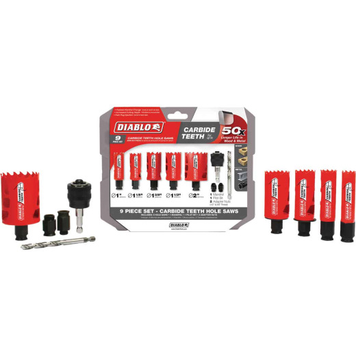 Diablo Carbide-Tipped Hole Saw Set (9-Piece)