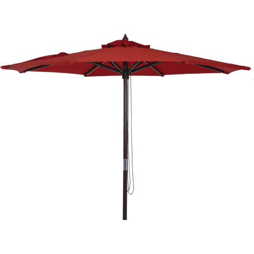 Outdoor Expressions 9 Ft. Pulley Crimson Red Market Patio Umbrella with Chrome Plated Hardware