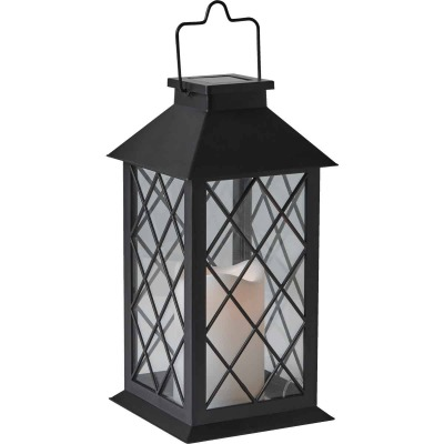 Gardman Cole and Bright 5.5 In. W. x 11 In. H. x 5.5 In. D. Amber Candle Light Plastic LED Solar Lantern