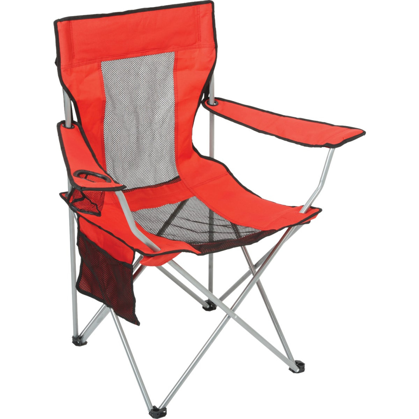 Outdoor Expressions Red Polyester Mesh Folding Chair Image 1